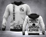 Concrete Finisher Legend 3D all over printed hoodie WHJ
