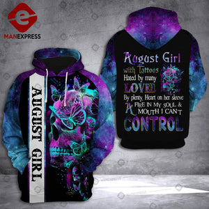 August girl with tattoo SKULL 3d all over printed hoodie LMT