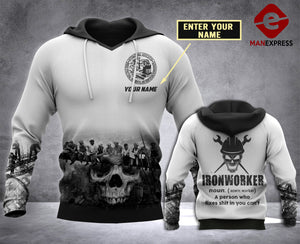 CUSTOMIZE IRONWORKER PDF 3D PRINT HOODIE