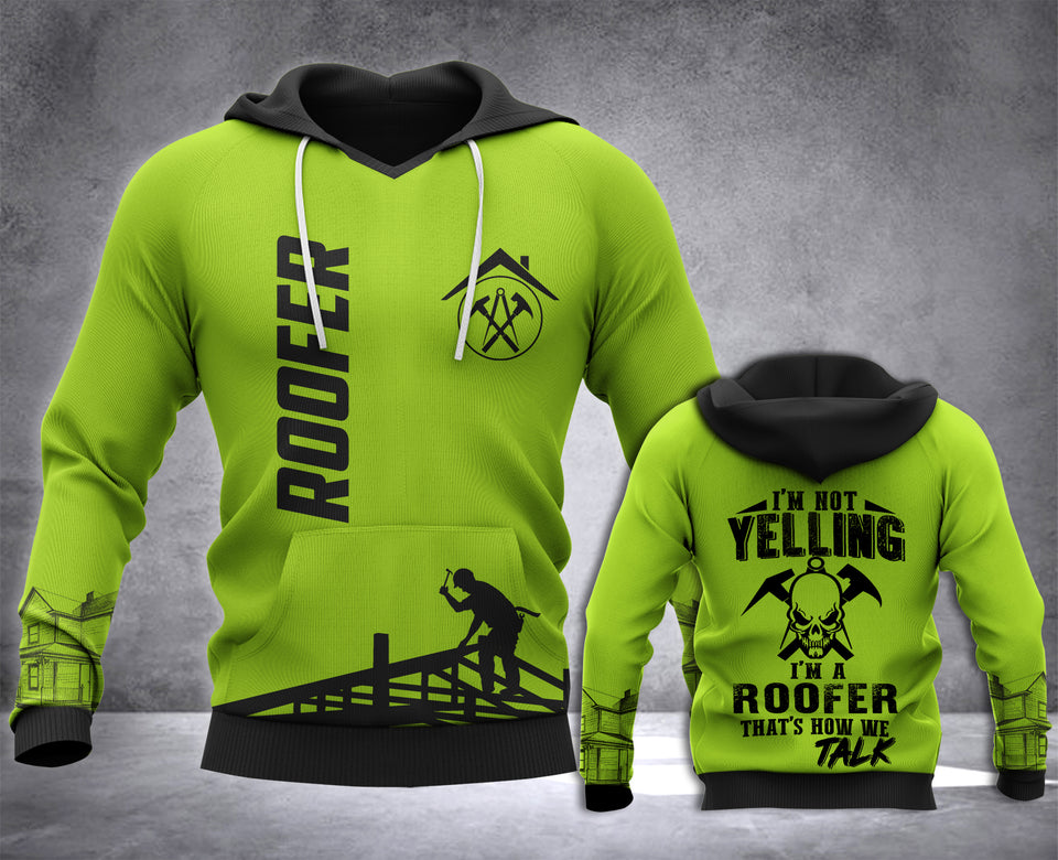 Roofer Yelling 3D all over printed hoodie WHJ