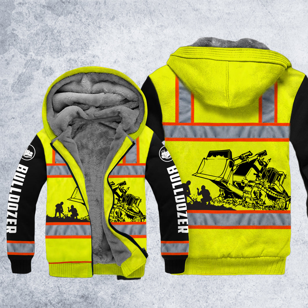 DH BULLDOZER SAFETY FLEECE ZIPPER HOODIE OVER PRINT