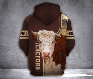 Hereford cattle 3D printed hoodie GDQ