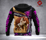 LDM Camo Hereford Cattle Country Girl Hoodie