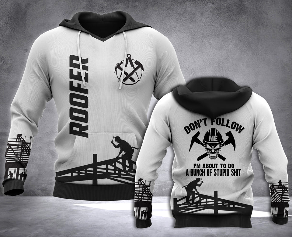 Roofer Don't Follow 3D all over printed hoodie WHJ