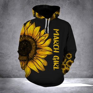 MARCH GIRL  SUNFLOWER  - 3D ALL OVER PRINT