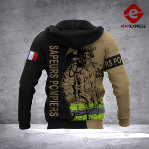 Personalized French Firefighter 3D printed hoodie AZH France