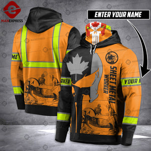 Customized Sheet Metal Worker CANADA 3D printed MASK HOODIE SAFETY HVQ201020