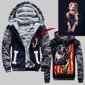 MT PITBULL FLAG ZIPPER HOODIE CAMO OVER PRINT