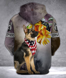 German shepherd 3D all over printed hoodie SDL