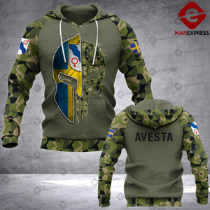 Spartan Avesta - Sweden Camo army Pns 3D printed hoodie NQA