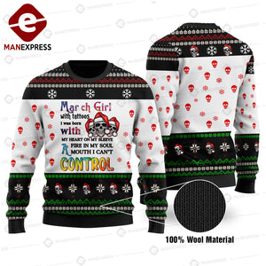 March Girl with tattoos.... Control 3d Printed HOODIE/Knitting Wool Sweater NQA