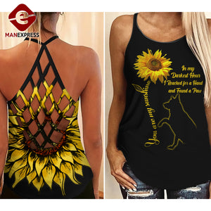 FOUND A GERMAN SHEPHERD PAW SUNFLOWER CRISS-CROSS OPEN BACK CAMISOLE TANK TOP