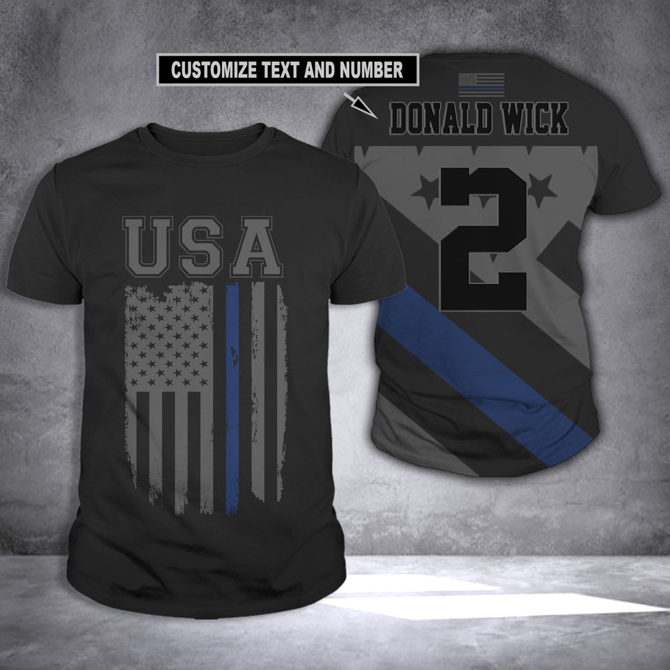 CUSTOMIZE BLUE LINE T-SHIRT