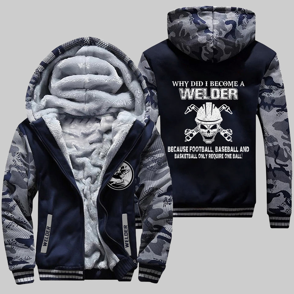 DH WELDER NOT FOR THE WEAK  FLEECE ZIPPER HOODIE CAMO