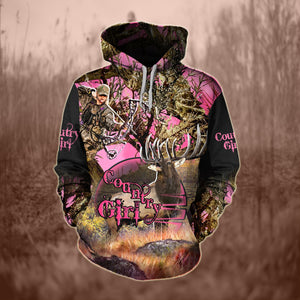 COUNTRY GIRL HUNTING HOODIE 3D ALL OVER PRINT