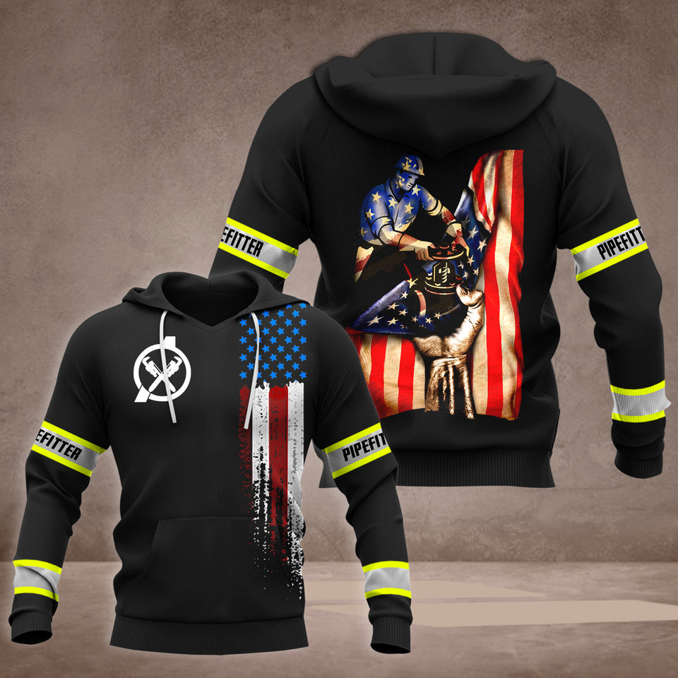 TT US Pipe fitter Flag 3D all over printed hoodie