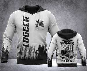 Logger 9 to 5 3D all over printed hoodie WHJ