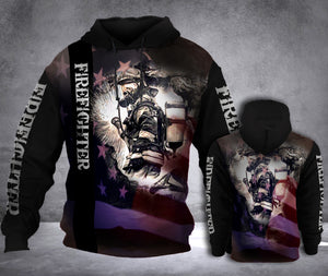FIREFIGHTER FIGHTING FLAG HOODIE