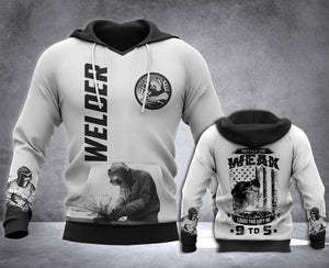 Welder 9 to 5 3D all over printed hoodie WHJ