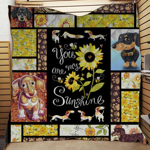 YOU ARE MY SUNSHINE DACHSHUND QUILT BLANKET