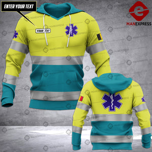 Personalized Belgian EMS 3D printed hoodie HTS Paramedic
