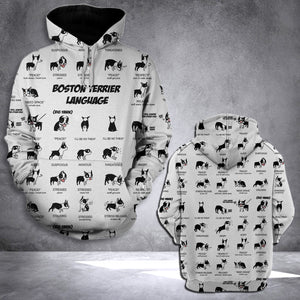 LMT Boston Terrier language 3D all over printed hoodie