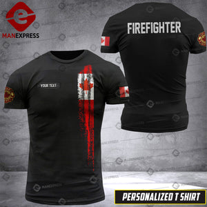 Personalized Canadian Firefighter 3D printed Tshirt DKZ A