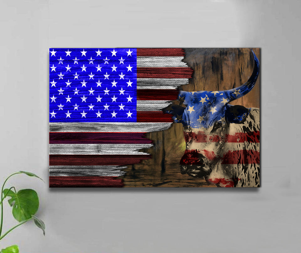 HALF FLAG - TEXAS LONGHORN -CANVAS