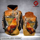 Personalized Rooster ranch grass 3D printed hoodie