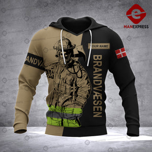 Personalized Danish Firefighter 3D printed hoodie AZH Denmark