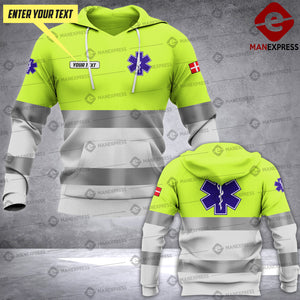 Personalized Danish EMS 3D printed hoodie HTS Paramedic