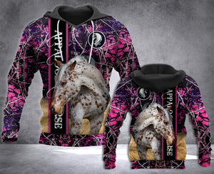 LDM APPALOOSA HORSE LADY, CAMO HOODIE PRINT OVER, CHRISTMAS FOR HORSE LADY