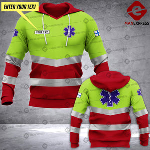 Personalized Finnish EMS 3D printed hoodie HTS Paramedic