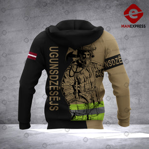 Personalized Latvian Firefighter 3D printed hoodie AZH Latvia