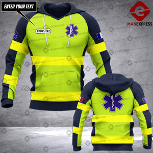 Personalized French EMS 3D printed hoodie HTS Paramedic