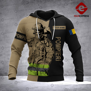 Personalized Romanian Firefighter 3D printed hoodie AZH Romania