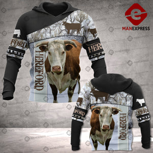 Hereford cattle 3D printed hoodie NVT