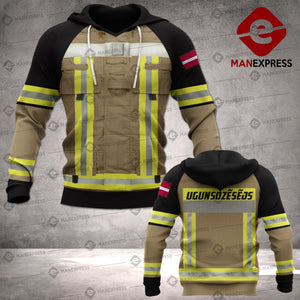 Latvian Firefighter 3D printed hoodie TKV Latvia