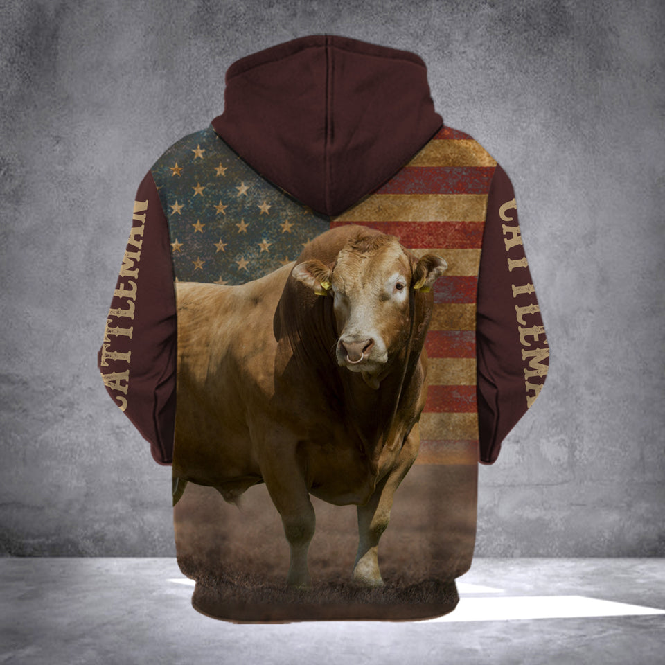 LIMOUSIN CATTLE FLAG CATTLEMEN HOODIE