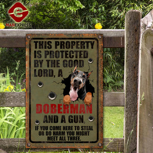 Doberman Dog Printed Metal Sign 105-TA