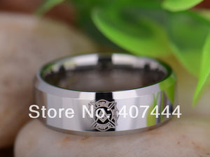 Free Shipping USA UK Canada Russia Brazil Hot Sales 8MM Silver Beveled Firefighter Masonic Men's Tungsten Carbide Wedding Ring