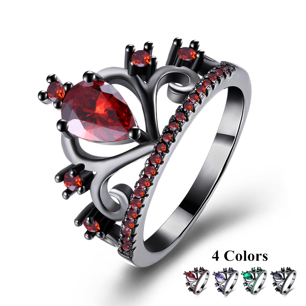 New Arrival Black Gun Plated Elegant Crown Shaped Fire Opal Ring With AAA Cubic Zircon Best Gift Wedding Ring Red Opal R1132