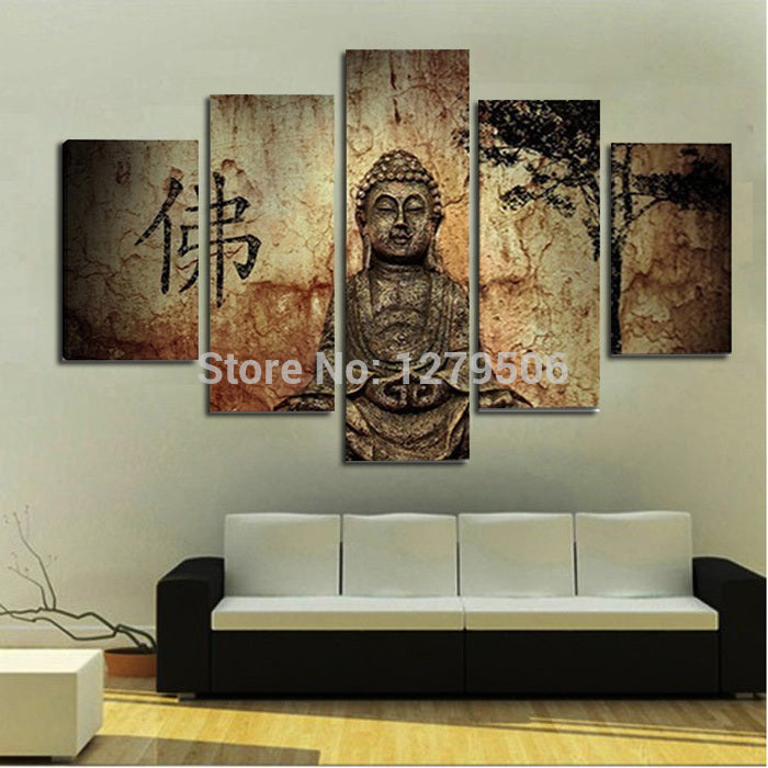 Handmade Oil Painting On Canvas Wall Art Home Decor For Living Room As Unique Gift 5 Pieces/set Budha Picture Decor