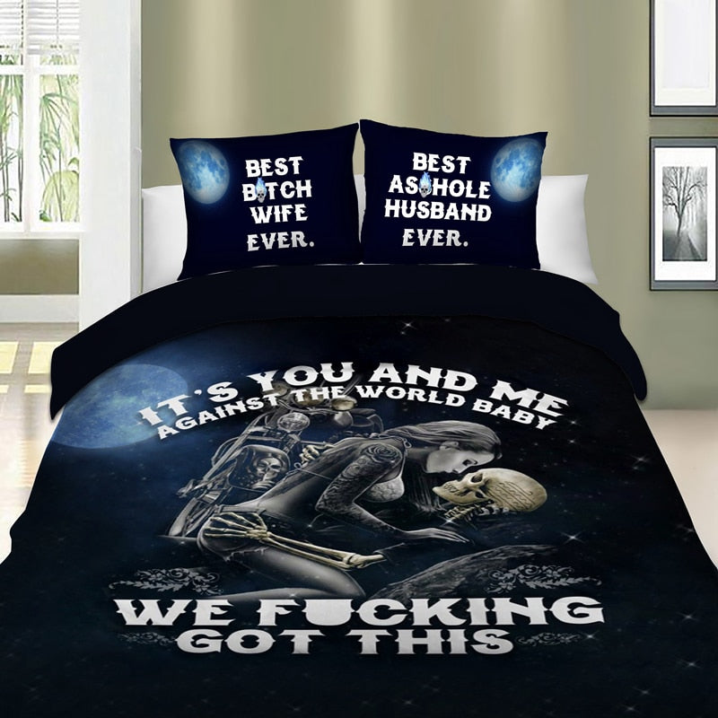Bedding Set 3D Bedding Set Skull Angel Duvet Cover Pillowcase Beauty Kiss Skull Bed Linen Set