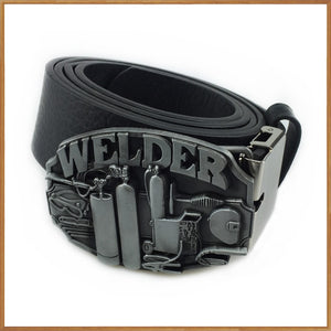Welder belt buckle with pewter finish with PU belt