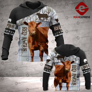 Red Angus cattle 3D printed hoodie NVT