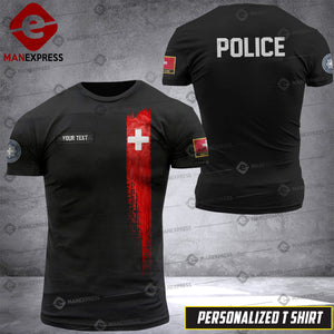 Personalized Swiss Police 3D printed Tshirt DKZ
