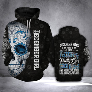 DECEMBER GIRL WITH TATTOO HOODIE 3D ALL OVER PRINT