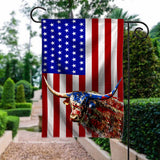 Flag GARDEN texas longhorn 4July