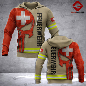 Swiss Firefighter 3D printed hoodie UCV Switzerland